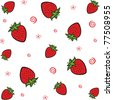 Vector strawberry seamless background - stock vector