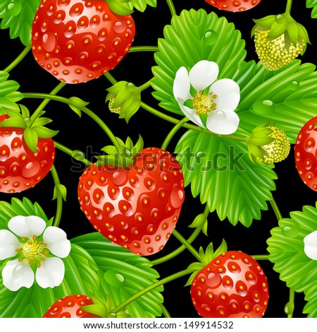 Vector strawberry seamless pattern isolated on black background - stock vector