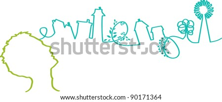 vector - stream of thoughts - stock vector