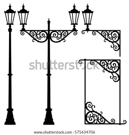 Vector street lantern black silhouettes