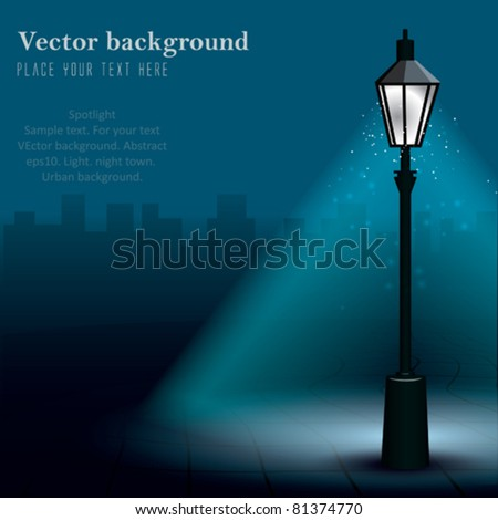 Vector Streetlight at Night - stock vector