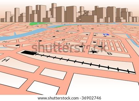 Vector streetmap of a generic city plus skyline - stock vector