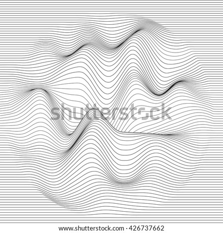 Vector striped background. Abstract line waves. Sound wave oscillation. Funky curled lines. Elegant wavy texture. Surface distortion.