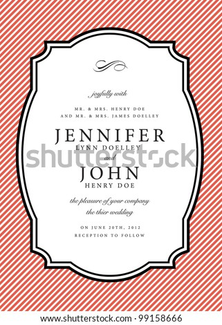 Vector Striped Background and Frame. Easy to edit. Perfect for invitations or announcements. - stock vector
