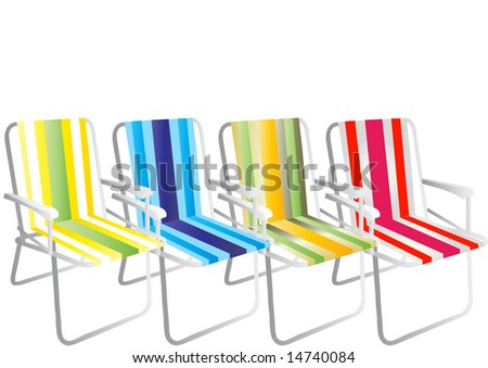 Vector striped chairs on white background