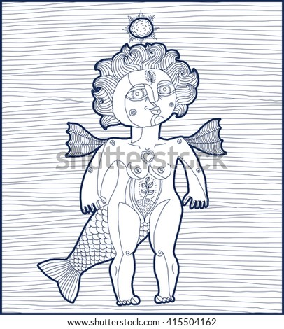 Vector striped illustration of bizarre creature, nude woman with wings, animal side of human being. Goddess conceptual hand drawn allegory image.  - stock vector