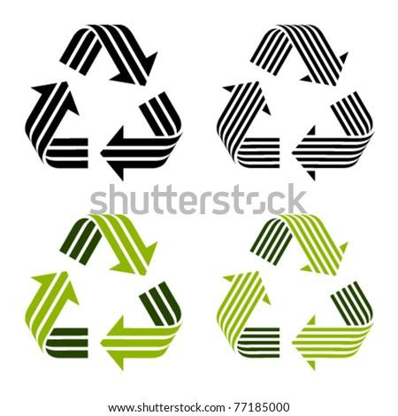 vector striped recycle symbols - stock vector