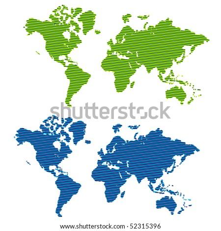 vector striped world map - stock vector