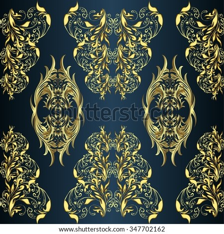 vector stripes gradient abstract golden doodles floral patter, dark blue background - stock vector