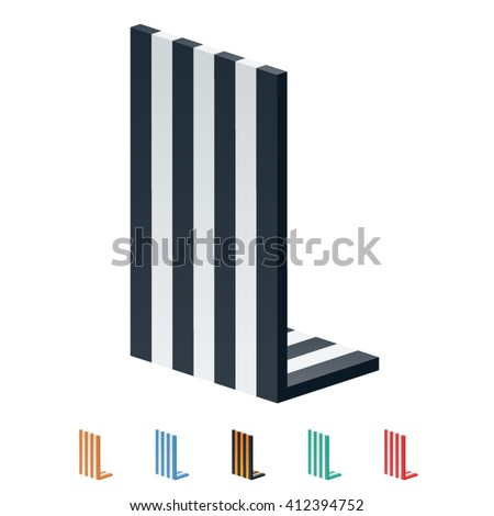 Vector stripped 3D alphabet. Optional different colors. Letter L - stock vector
