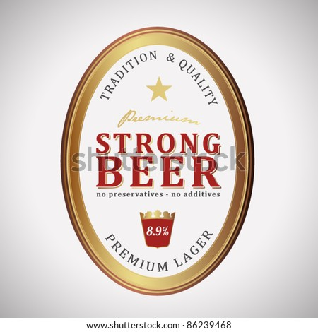 vector strong beer label