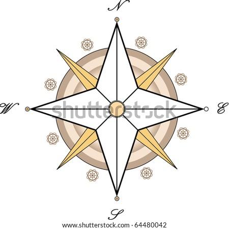 vector style compass - stock vector