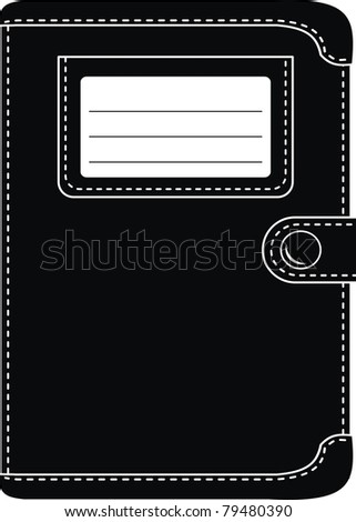Vector stylish black leather organiser, wallet (original design) -  isolated illustration on white background - stock vector
