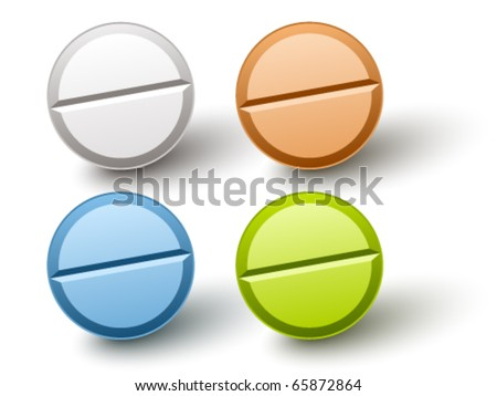 vector stylish colored pills - stock vector