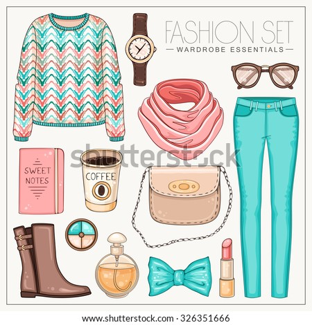 Vector stylish fashion set of woman's clothes, accessories and cosmetics. Casual pastel color autumn or spring outfit with sweater, trousers, scarf and boots - stock vector