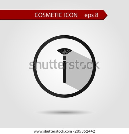 Vector stylish flat icon of brush with long shadow effect of beauty and cosmetics. - stock vector