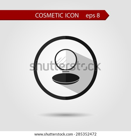 Vector stylish flat icon of compact powder with long shadow effect of beauty and cosmetics. - stock vector