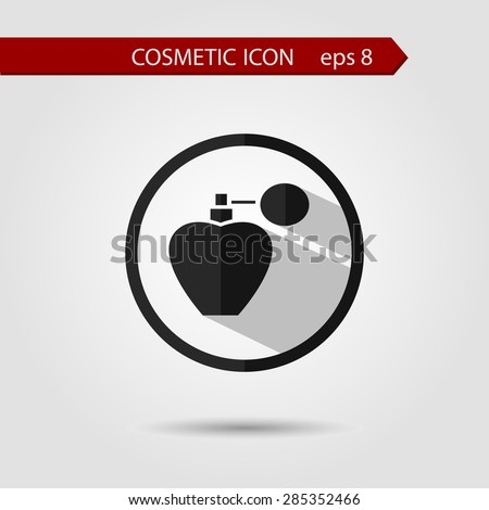 Vector stylish flat icon of  cream bottle with long shadow effect of beauty and cosmetics. - stock vector