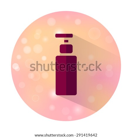 Vector stylish flat icon with long shadow effect of beauty and cosmetic on blurred background. Bottle. - stock vector