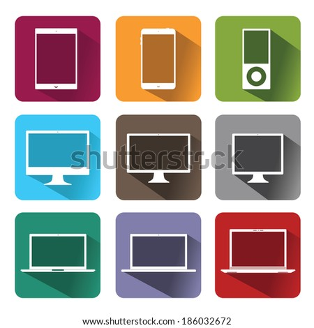 Vector stylish icons of computer equipment  - stock vector