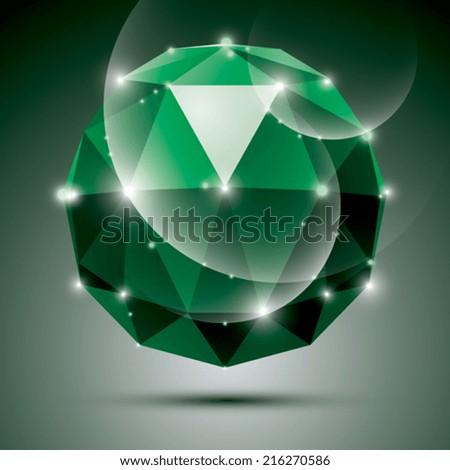 Vector stylish illustration, shiny emerald effect, eps10. Gala 3D green glossy disco ball. - stock vector