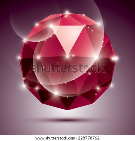 Vector stylish illustration, shiny Rubin effect, eps10. Gala 3D red twinkle disco ball. - stock vector