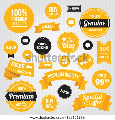 Vector Stylish Labels Badges Stickers and Ribbons Set Yellow - stock vector