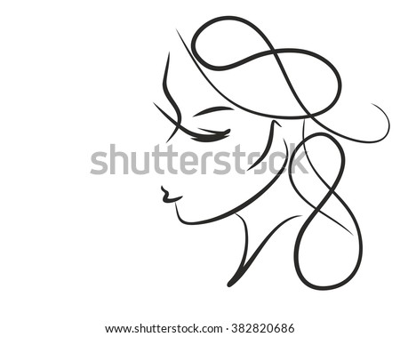 VECTOR  stylish  original hand-drawn graphics portrait  with beautiful young attractive girl model for design. Graphic, sketch drawing.