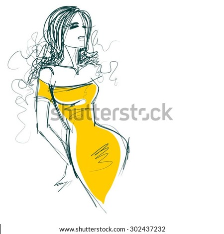 VECTOR  stylish  original hand-drawn graphics with beautiful young attractive girl model for design. Fashion, style,  beauty, advertising. Graphic, sketch drawing. Sexy woman .