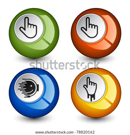 vector stylish round glossy buttons - stock vector