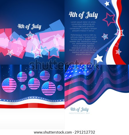 vector stylish set of 4th july american independence day withamericdan flag design and wave  - stock vector