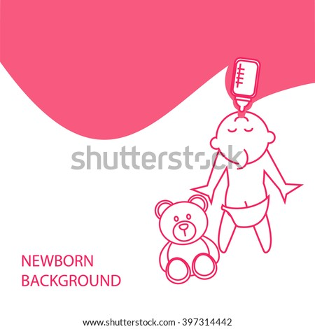 Vector stylized background of pregnant woman feeds the child with beer - stock vector