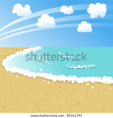 Vector stylized cartoon landscape of the beach
