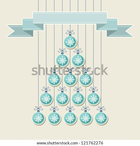 Vector stylized christmas tree made from blue balls with snowflakes and banner. Original holiday invitation, greeting card. Vintage winter light background. Abstract drawing decorative illustration