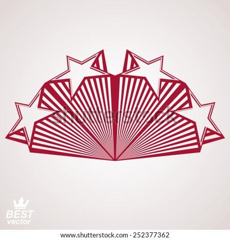 Vector stylized design element, celebrative perspective pentagonal stars web emblem. Union idea  �¢?? eps8 3d heraldic object. Festive aristocratic symbol, corporate branding. - stock vector