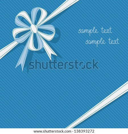 Vector stylized gift box with ribbon and bow in form of flower. Blue festive simple background for invitation, greeting card. Abstract holiday decorative cute illustration with text box for print, web - stock vector