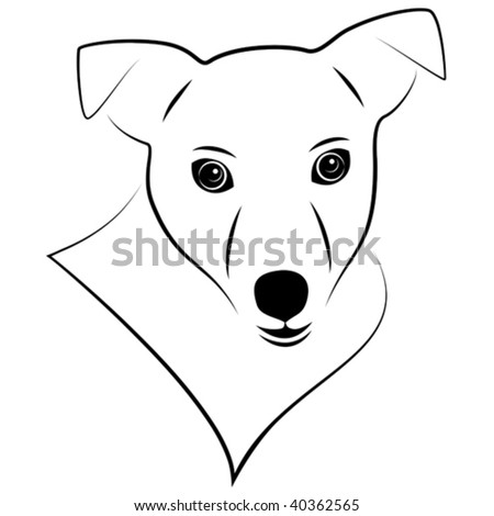 vector stylized illustration of jack russell terrier portrait