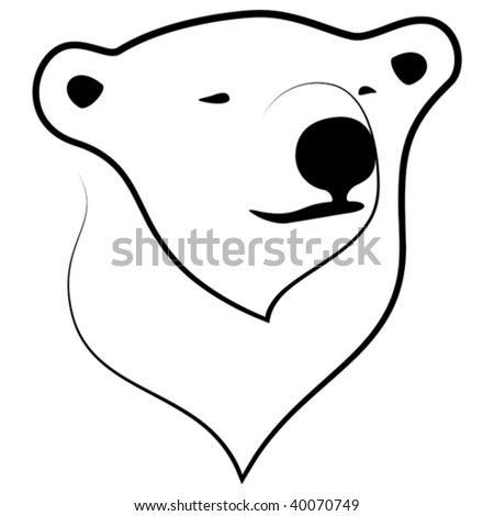 Vector stylized illustration of polar bear portrait.