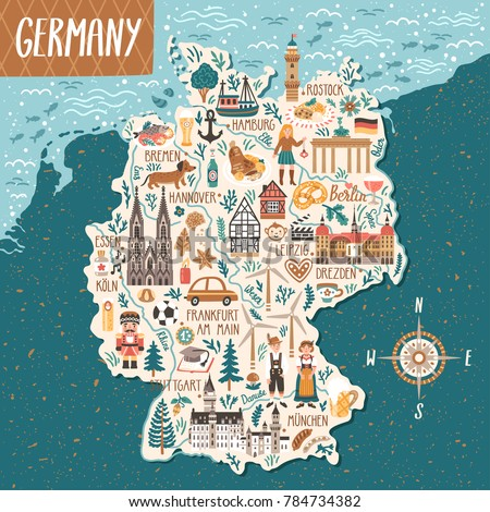 vector stylized map of germany travel illustration with german landmarks people food and