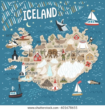 Vector stylized map iceland travel illustration stock vector vector stylized map of iceland travel illustration with iceland landmarks people animals and sciox Gallery