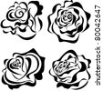 Vector stylized roses isolated on white background - stock photo