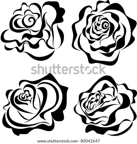Vector stylized roses isolated on white background - stock vector
