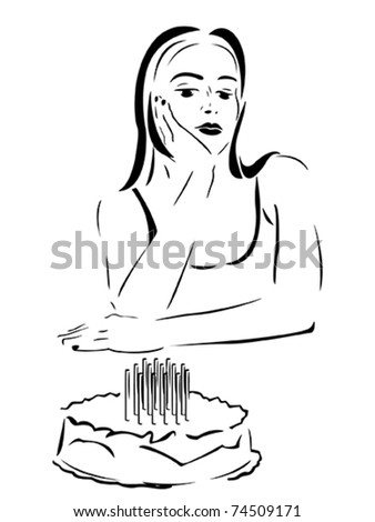 Vector Stylized sad girl with a cake - stock vector