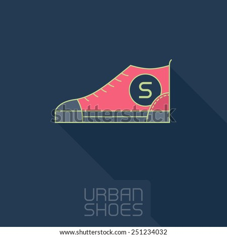 Vector Stylized sneakers. Outline urban shoes with long shadow. Sport icon or design element. - stock vector