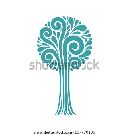 Vector stylized tree of blue teardrop-shaped and swirl element. Decorative card. Original modern design element. Icon with concept of art and creation. Abstract illustration for print and web - stock vector