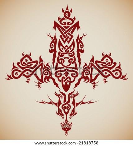 VECTOR Stylized tribal Celtic inspired cross / tattoo. - stock vector