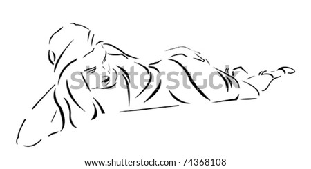 Vector Stylized Woman laying in a dress - stock vector