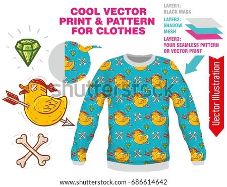 vector sublimation print for printing on clothes illustration for print on tshirt sweatshirt - Pictures For Printing
