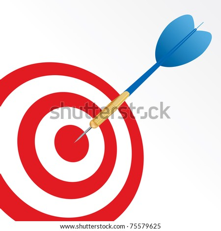 vector success symbol with blue arrow in center of red target - stock vector