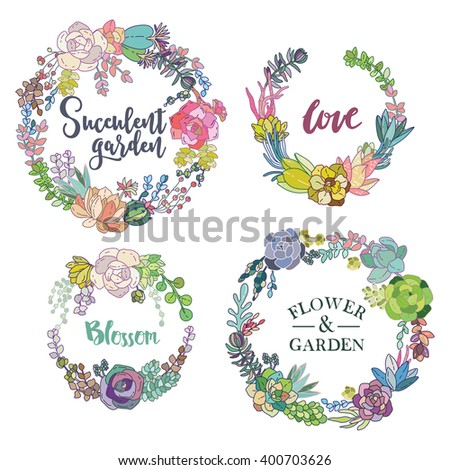 Vector succulent wreaths set. Vintage round frame with cactus and succulents.  - stock vector